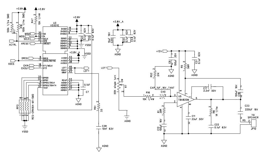 circuit diagram between the vs1011 and tba820 amplifier